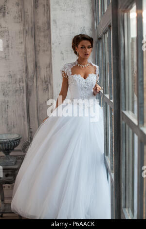 Wedding dress Paris. luxury apartment in a dress. Bride near the ...