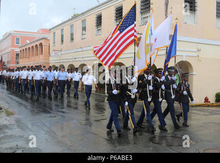 Members of the Virgin Islands National Guard participated in the Memorial Day Parade held in Christiansted, St. Croix, VI, May 30, 2016.  (U.S. Army National Guard photo taken by Army Sgt. Priscilla Desormeaux/Released) (Photograph cropped to highlight subject matter) - Stock Photo