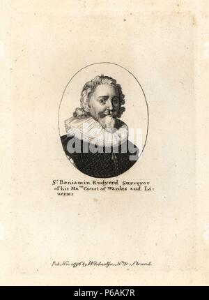 Sir Benjamin Rudgerd, surveyor of his majesty's court of wards and liveries. Died 1658, aged 86. From a small oval by Wenceslas Hollar. Copperplate engraving from Richardson's 'Portraits illustrating Granger's Biographical History of England,' London, 1792–1812. Published by William Richardson, printseller, London. James Granger (1723–1776) was an English clergyman, biographer, and print collector. - Stock Photo