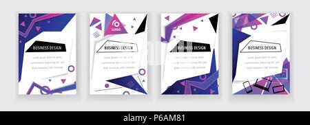 Vertical white banners with neon blue pink abstract design elements., thin icons. Vector technology background. - Stock Photo