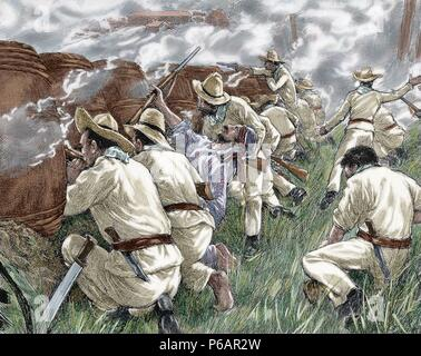 Cuban War of Independence (1895-1898). Three liberation wars that Cuba fought against Spain. The final three months of the complict escalated to become the Spanish-American War. Rebels at a roadblock,1898. Engraving. Colored. - Stock Photo