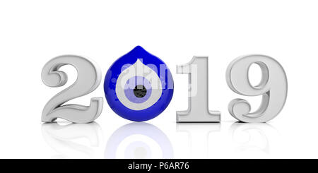 Lucky New Year 2019. Evil turkish eye amulet protection, lucky New Year, 2019, on white background. 3d illustration - Stock Photo