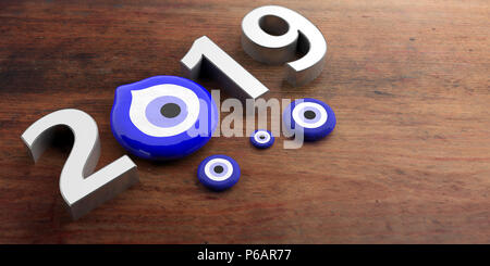 Lucky new year 2019. Evil turkish eye amulet protection, New Year, 2019, banner, on wooden background. 3d illustration - Stock Photo