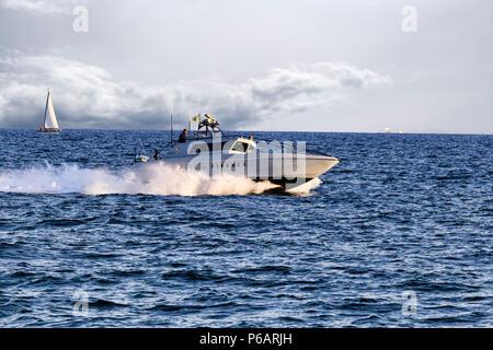 Rome; Italy - June 25; 2018: Patrol boat of italian Guardia di Finanza patrols Rome s  sea. The Italian Guardia di Finanza is a special Police Corps t - Stock Photo
