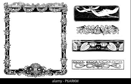 Typographic decorative art deco elements early '900: floral frame, banners, borders and end chapter decorations - Stock Photo