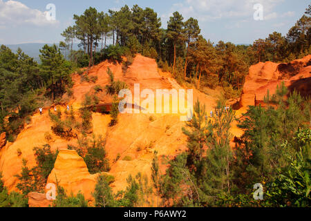 France, Provence Alpes Cote d'Azur, department of Vaucluse (84), Natural park of Luberon, Roussillon (most beautiful village of France), old ochre quarry - Stock Photo