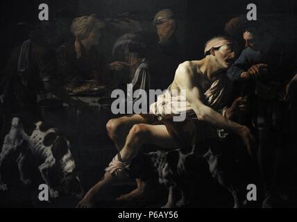 Hendrick ter Brugghen (1588-1629). Dutch painter. The Rich Man and the Poor Lazarus, 1625. Centraal Museum. Utrecht. Netherlands. - Stock Photo