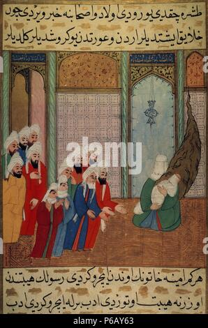 Muhammad (c. 570-632), newborn on his mother's arms, shows to his grandfather Abd al-Muttalib and other inhabitants of Mecca. Miniature. Topkapi Museum. Istanbul. Turkey. - Stock Photo