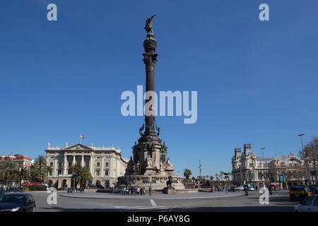 Spain, Catalonia, Barcelona City, Colombus Monument, - Stock Photo