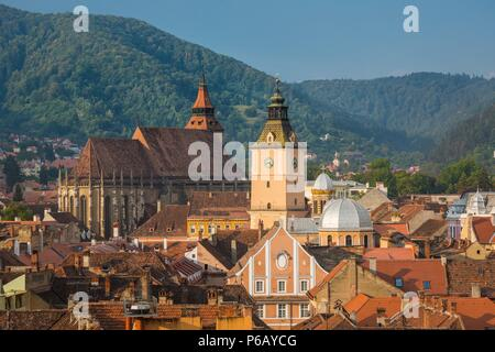 Romania, Transilvania, Brasow City The Black Chur Roof - Stock Photo