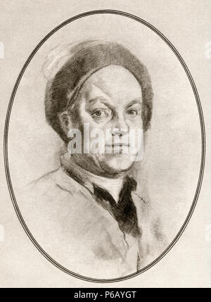 William Hogarth, 1697 – 1764.  English painter, printmaker, pictorial satirist, social critic, and editorial cartoonist.  Illustration by Gordon Ross, American artist and illustrator (1873-1946), from Living Biographies of Great Painters. - Stock Photo
