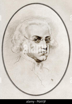 Sir Joshua Reynolds, 1723 – 1792.  English portrait painter.  Illustration by Gordon Ross, American artist and illustrator (1873-1946), from Living Biographies of Great Painters. - Stock Photo