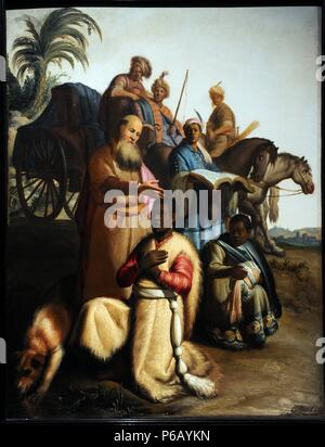 Baroque. Baptism of the eunuch by Rembrandt van Rijn (1606-1669), 1626. The apostle Philip baptises a eunuch from Ethiopia. Museum Catharijneconvent. Utrecht. Netherlands. - Stock Photo