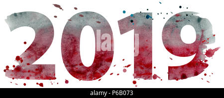 New year 2019 watercolor number isolated on the white background - Stock Photo