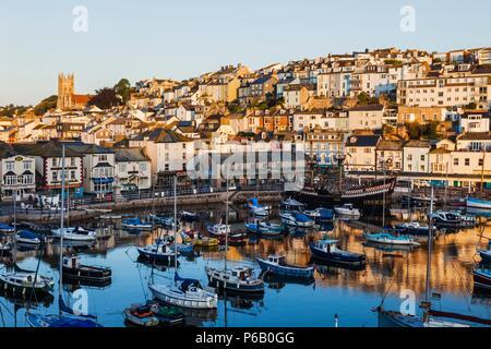 England, Devon, Brixham, Brixham Harbour - Stock Photo