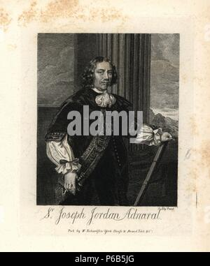 Sir Joseph Jordan, Admiral, 1672. Engraved from a scarce print by R. Tompson from a portrait by Sir Peter Lely. Copperplate engraving from Richardson's 'Portraits illustrating Granger's Biographical History of England,' London, 1792–1812. Published by William Richardson, printseller, London. James Granger (1723–1776) was an English clergyman, biographer, and print collector. - Stock Photo