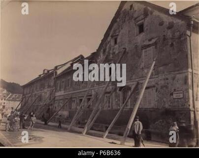 1895 Ljubljana earthquake by Helfer - Karlovška cesta. - Stock Photo