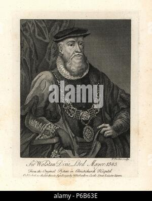 Sir Wolstan Dixie, Lord Mayor of London, died 1585. Engraved by T. Trotter from an original picture in Christ's Hospital. Copperplate engraving from Richardson's 'Portraits illustrating Granger's Biographical History of England,' London, 1792–1812. Published by William Richardson, printseller, London. James Granger (1723–1776) was an English clergyman, biographer, and print collector. - Stock Photo