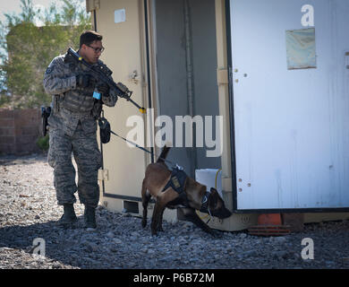 Staff Sgt. Ryne Wilson, a 99th Security Forces Squadron military working dog handler, and his MWD, Seneca, inspect the outside of a building during a training exercise at Nellis Air Force Base, Nev., April 26, 2018. The exercise trained the handlers and their dogs how to detect and seize various explosives and narcotics. (U.S. Air Force photo by Airman Bailee A. Darbasie) - Stock Photo