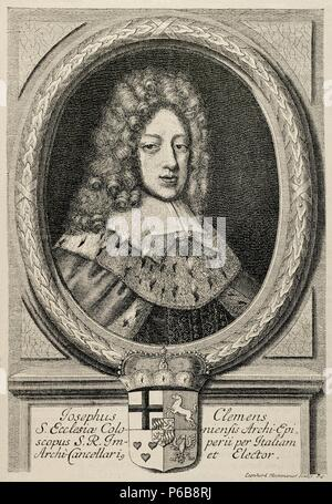 Joseph Clemens of Bavaria (1671-1723). Archbishop of Cologne. Facsimile of an engraving by Leonardo Heckenauer (1650-1704). The Universal History, 1885. - Stock Photo