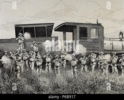 Cuban War of Independence (1895-1898). Three liberation wars that Cuba fought against Spain. The final three months of the complict escalated to become the Spanish-American War. Defending a train attacked by rebels.1898. Engraving. - Stock Photo