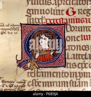 Detail of the book of the freeholds of Cerdanya 'Liber Feudorum Ceritaniae' Manuscript, 13th. - Stock Photo
