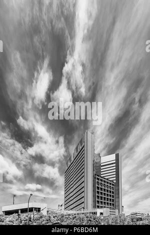 Dramatic sky over the Chuo district of Tokyo, Japan - Stock Photo