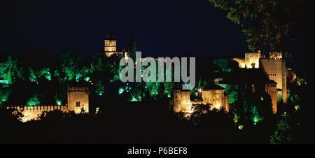Spain. Granada. Alhambra. Night view from Generalife Gardens. - Stock Photo