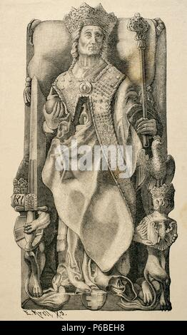 Wladyslaw II Jagiello, Jogaila (1362-1434). King of Poland. Engraving depicting the sarcophagus of the king in the Cathedral of Krakow (according Essenwein). - Stock Photo