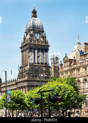 Leeds Town Hall in Summer from The Headrow Leeds West Yorkshire England - Stock Photo