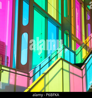 Montreal, Canada - 14 Sept 2017: The colourful stained glass Palais des congres de Montreal, a covention and exhibition centre located in Downtown Mon - Stock Photo