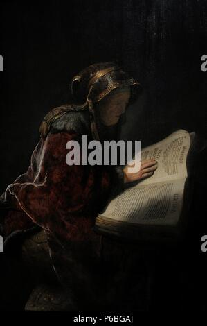 Rembrandt Harmenszoon van Rijn (1606-1669). Dutch painter. An Old Woman Reading, Probably the Prophetess Hannah, 1631. Rijksmuseum. Amsterdam. Holland. - Stock Photo