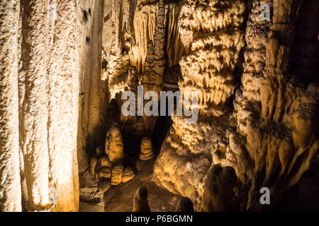 Mallorca, Large limestone formations in caves of drach - Stock Photo