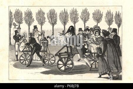 Velocipede or hobby-horse riders in the gardens of Luxembourg, Paris, circa 1810. Engraving from Paul Lacroix's 'Directoire, Consulat et Empire,' Paris, 1884. - Stock Photo