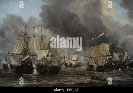 Reinier Nooms, called Zeeman (c. 1623-1664). Dutch painter. The Battle of Livorno, 1653-1664. Rijksmuseum. Amsterdam. Holland. - Stock Photo