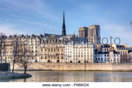 France, ile-de-France, Paris, area listed as World Heritage by UNESCO, Ile de la Cite and Notre Dame Cathedral - Stock Photo