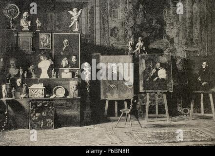 Franz von Lenbach (1836-1904). German painter of Realist style. Workshop. Engraving by Knesing, La Ilustracion Artistica, 1891. - Stock Photo