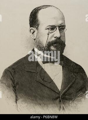 Eduardo Leon y Ortiz (19th century). Spanish professor at the Faculty of Sciences of the Central University. Engraving. La Ilustracion Espanola y Americana, 1892. - Stock Photo