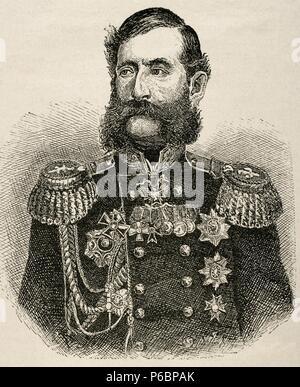 Mikhail Loris-Melikov (1826-1888). Russian-Armenian statesman. Engraving. Universal History, 1881. - Stock Photo