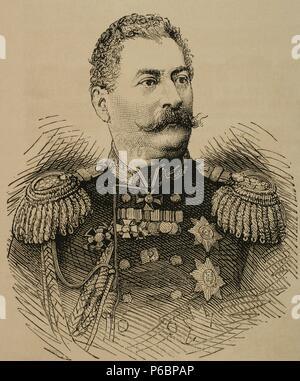 Mikhail Loris-Melikov (1826-1888). Russian-Armenian statesman. Engraving. The Spanish and American Illustration, 1877. - Stock Photo
