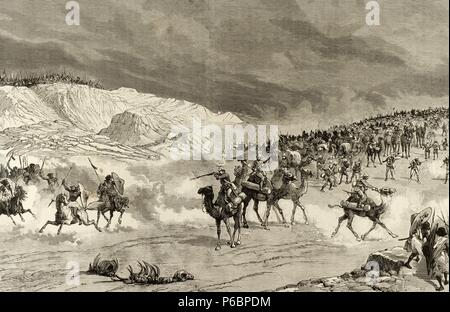 Horatio Herbert Kitchener, 1st Earl Kitchener (1850-1916). British officer. Engraving by P. Meaulle. Withdrawal of the British forces in the Sudan. Anglo-Sudan War. The Illustration, 1885. - Stock Photo