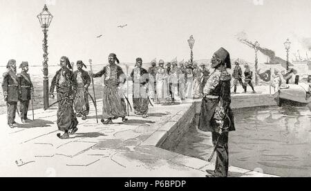 Travel of the Emperor of Germany, Wilhelm II, to Palestine. Entrance of the Emperors in Haifa, 1898. Engraving in The Illustration. - Stock Photo