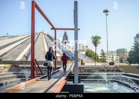 Pyramid of Tirana and Bell of Peace, Tirana, Albania - Stock Photo