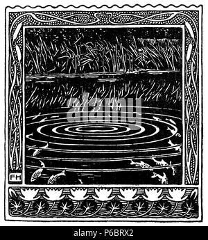 Typographic decorative art deco elements early '900: nature framed vignette with stylized aquatic plants fishes and water as banner, border, template, label and chapter decoration - Stock Photo