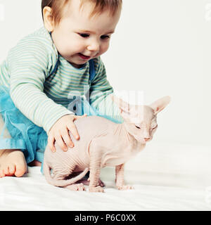Little girl and kitten. Cute baby with hairless cat - Stock Photo