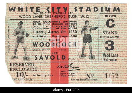 Boxing, Ticket for Heavyweight Championship of the World, Bruce Woodcock vs Lee Savold, White City Stadium, London, UK 1950 - Stock Photo