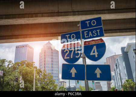 Interstate freeway signs for the 275 and 4 in downtown Tampa Florida USA - Stock Photo