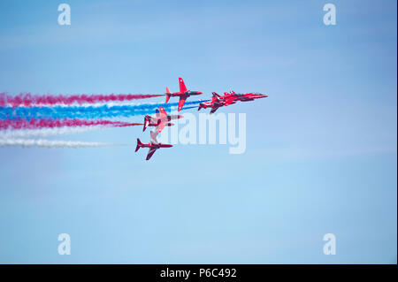 The Red Arrows in RAF 100th Anniversary livery, Weston Air Festival 2018 - Stock Photo