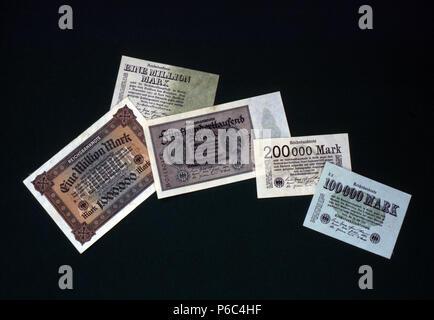 Berlin, Germany - reichsbank notes - Stock Photo
