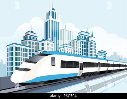 High speed railway passing in front of modern city, Modern lifestyle, Transportation - Stock Photo